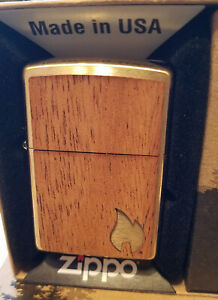 Zippo 29901 Woodchuck Mahogany Flame Brushed Brass NEW in box Windproof Lighter