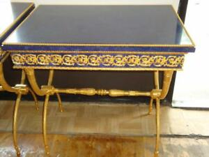 RARE OUTSTANDING PAIR OF MUSEUM QUALITY LAPIS LAZULI AND BRONZE EMPIRE TABLES