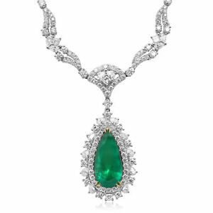 LARGE 14.97CT AAA EMERALD 18KT 2 TONE GOLD CLASSIC PEAR SHAPE ETERNITY NECKLACE