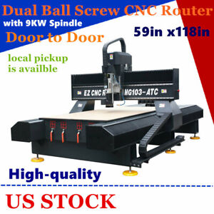 USA  59in x118in 1530 High-quality Dual Ball Screw CNC Router with 9KW Spindle
