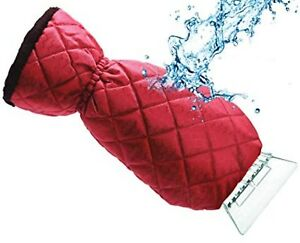 Auto Drive Mitt Ice Scraper Fleece Lined Waterproof (Red) - 5037