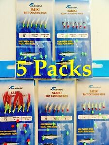 5 Packs Size 12 Sabiki Bait Rigs Offshore Saltwater Fishing Lures Combo