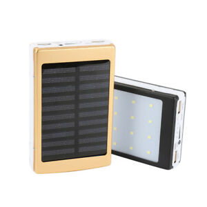 10000mah LED Dual-USB Waterproof Solar Power Bank Battery Charger for Cell Phone