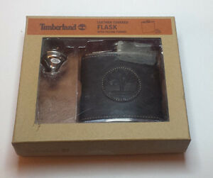 Timberland Leather Covered Flask with filling funnel