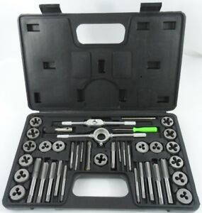 40pc SAE Standard Tap Die Set w Case Screw Extractor Remover Kit Thread NEW