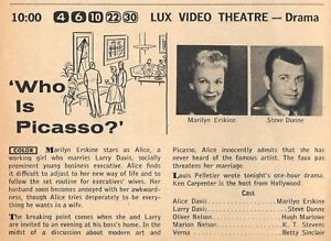 1957 TV AD~WHO IS PACASSO ? MARILYN ERSKINE & STEVE DUNNE~LUX VIDEO THEATRE