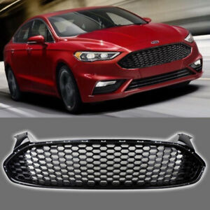 Fits For 2013 2016 Ford Fusion Front Grill Honeycomb Gloss Black Grille