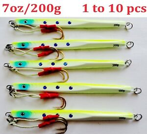 1-10 pcs Speed jigs 7oz200g Chartreuse Vertical Knife Butterfly Saltwater Lures