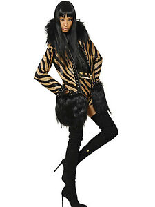 $21750 Authentic EMILIO PUCCI Animal Printed Calf Hair GOAT & FOX Coat 38 US-24