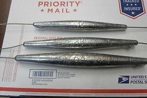 High Speed Wahoo Inline Trolling Weight 32 48 64 oz Sinkers on Stainless Cable