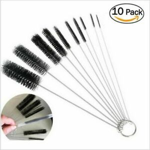 US Nylon Straw Brush Cleaner Bottle Tube Pipe Small Long Cleaning 10Pcs Set $6.30