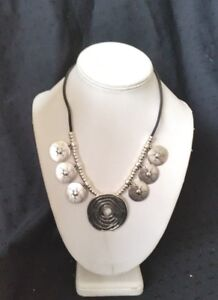 TIBETAN SILVER ETHNIC PENDANT LEATHER CHUNKY NECKLACE 16