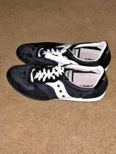 Mens Saucony Bullet Sneakers Suede and Mesh Black/Silver Size 14