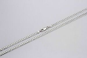 14k Solid White Gold Men Women 3mm Cuban Link Chain Necklace Size 16