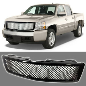 Fits For 2007 2013 Chevy Silverado Front Mesh Grill Gloss Black Grille