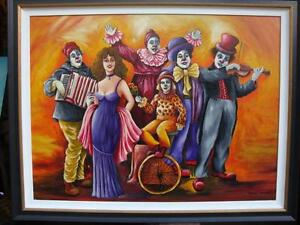 $6900 MAGNIFICENT ORIGINAL OIL LADY W CLOWNS PAINTING SIGNED BY SHOSHI CHAYAT!