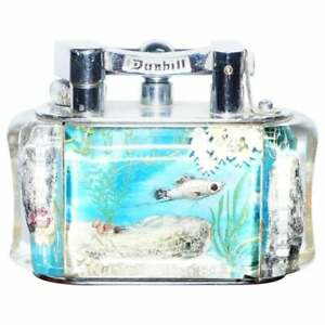 1950'S DUNHILL AQUARIUM OVERSIZED TABLE LIGHTER MADE IN ENGLAND CHROME LOTS FISH