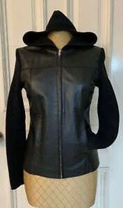 I•N•C Woman's Leather Jacket Hoodie Small Black Leather & Sweater Zipper Closure