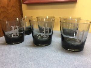 6 Smoky Gray On The Rocks 1970's Monogrammed Y Drinking Glasses Vintage