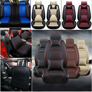 11Pcs Car Seat Cover ProtectorCushion Front & Rear Full Set PU Leather Interior