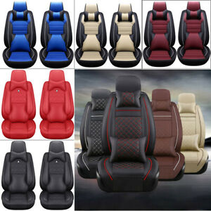 11Pcs Car Seat Cover ProtectorCushion Front amp; Rear Full Set PU Leather Interior