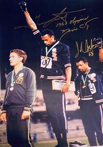 TOMMIE SMITH & JOHN CARLOS SIGNED AUTOGRAPH PHOTO COA OLYMPIC GOLD 1968 PROTEST