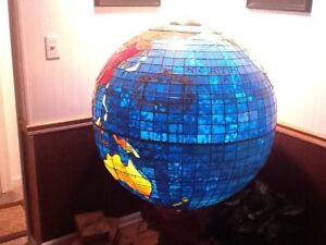 vintage art glass world globe 36 inch diameter 2000+ pieces  only 2 exist