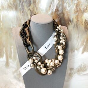 Rare Dior Bronze Pearl Mis En Dior Tribal Necklace - Limited Edition
