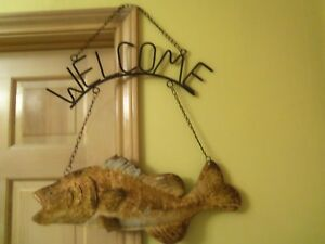 Metal FISH SIGN Advertising Open Mouth Bass Rusted21