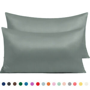Satin Silk 2 Pcs Pillowcases Pillow Cases Cover King Queen Standard Pillowcase $9.99