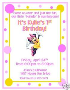 10 Cute Minnie Mouse Custom Invitations NEW by The Notecard Lady