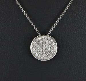 $1600 Prism 14K White Gold 0.42ct Round Pave Diamond Circle Pendant Necklace 16