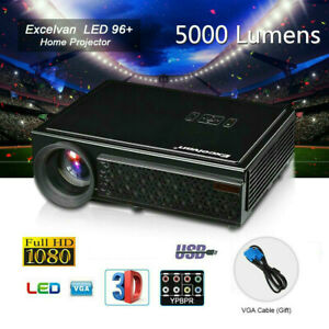 Excelvan 5000 Lumens 3D LCD LED Projector 1080P HD Home Cinema Theater VGA USB