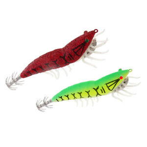 2pcs Artificial Noctilucent Shrimp Fishing Lures Prawn Bait Squid Lure Hook