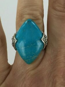 Genuine Turquoise & White Topaz Sterling Silver Statement Ring Size 7