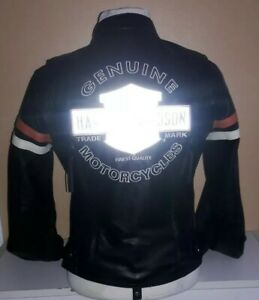 Harley-Davidson Women's Miss Enthusiast reflective Leather Jacket hoodie small