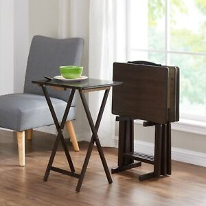 5 Piece Tray Table Set Folding Wood TV Game Snack Dinner Laptop Stand Walnut