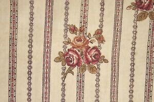 Fabric Antique French Block printed 18th century floral & stripe Alsace Textile