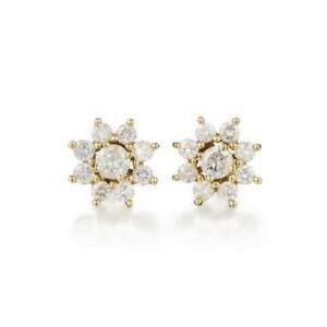 Lovely 1.65ct diamond earrings with halos set in 14kt yellow gold
