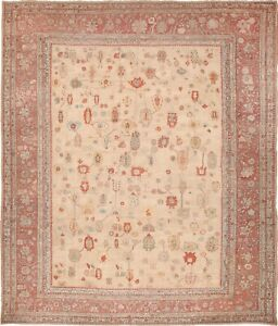 Nazmiyal Large Ivory Background Tribal Antique Turkish Oushak Rug 49658