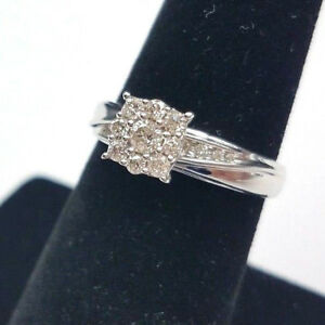 13 CTW Diamond Vintage Style Engagement Ring IN 10K White Gold
