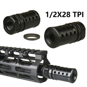 Compact Low Concussion Muzzle Brake Compensator 1 2x28 TPI 223 With Crush Washer