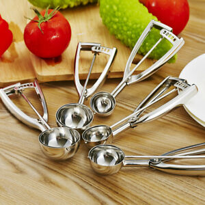 Ice Cream Scoops Stainless Steel Cookie Trigger Cookie Dough Cupcake spoons