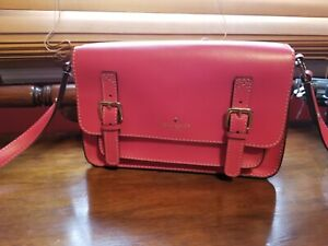 Kate Spate New York ESSEX SCOUT Cross body  Messenger Leather Bag  Spring Red