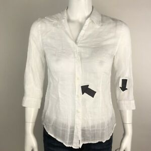 Coldwater Creek Womens Cotton Button Front 3/4 Sleeves Sheer Blouse Top Size S 8