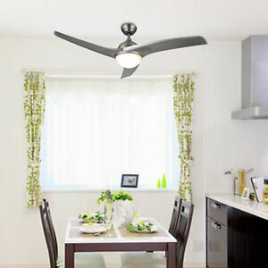 Modern Ceiling Fan w/ LED Panel Light & Remote Control Silver Color Blades