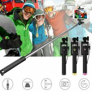 Wired Remote Extendable Handheld Shutter Selfie Stick For Apple iPhone Samsung #