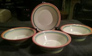 Gibsons Handpainted  RAINBOW  Soup Cereal Bowls Set Of 4