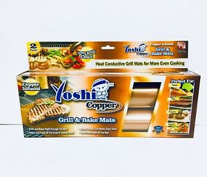 2 PACK Yoshi COPPER GRILL AND BAKE MAT BBQ Grilling NON-STICK  As Seen On TV