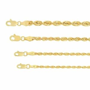 10K Yellow Gold Light 2mm 4mm Diamond Cut Rope Chain Pendant Necklace 16 30